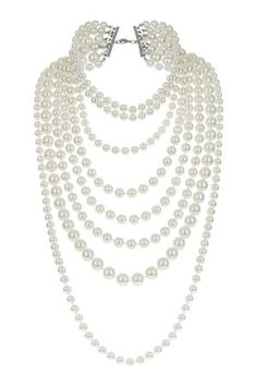 Multi Row Pearl Necklace - Necklaces - Jewelry - Bags  Accessories