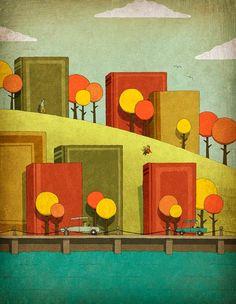 A landscape for readers / Un paisaje para los lectores (ilustración de Jesse Kuhn)