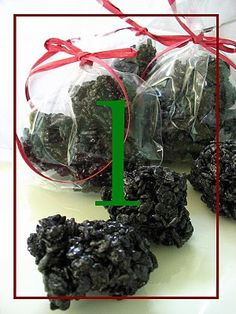 Christmas Coal - Rice crispy treats with black food coloring.