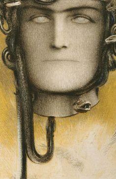 The Blood of Medusa Fernand Khnopff 1898 Colored pencils on paper Gustav Klimt, Le Sphinx, Medusa Gorgon, Tarot, William Adolphe Bouguereau, Sang, John Singer Sargent, Oil Painting Reproductions, Edouard Manet