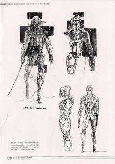Unused concept art from Metal Gear Solid 4 by Yoji Shinkawa. Looks like cyborg Raiden.