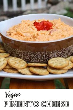 Why is pimento cheese considered a summer food?     Sure, it is great at picnics and cookouts, but I think flavorful, creamy, cheesy dips are just as nice in cold weather. Let's normalize year-round pimento cheese, y'all!    It's rich and creamy and perfect for dipping crackers and veggies or for spreading onto sandwiches.    Click the image to get the full recipe!    #pimentocheese #vegan #vegancheese #recipe #easy Vegan Blogs, Old Recipes, Vegan Breakfast Recipes, Delicious Vegan Recipes, Pimiento Cheese, Vegan Mayonnaise, Sandwich Spread, Summer Food, Vegan Cheese