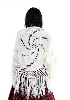 Long Fringe Shawl White Crochet Pinwheel Knit by FiregypsyVintage