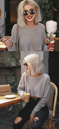 Cafe Vibes mit Laura Jade Stone - New Site Casual Outfits, Cute Outfits, Fashion Outfits, 90s Fashion, Fashion Tips, Medium Hair Styles, Short Hair Styles, Laura Jade Stone, Short Blonde