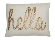 Hello Sequin Script Lumbar Pillow