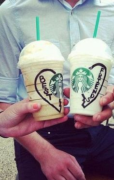 Best friend picture<3. Kyn we should do this. We love Starbucks  and are besties.