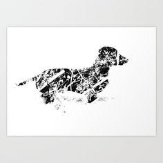 Dachshund in the snow Art Print by Jake Stanton - $16.00