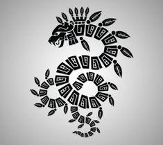 Quetzalcoatl, one of the four Aztec creator gods (on hip bone) Diy Tattoo, Fake Tattoo, Best Sleeve Tattoos, Body Art Tattoos, Tatoos, Oroboros Tattoo, Quetzalcoatl Tattoo, Mayan Glyphs, Ta Moko Tattoo