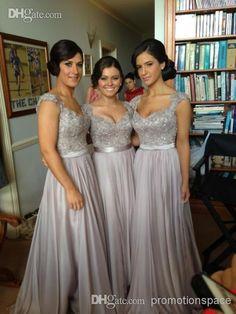2014 New Custom Made Hot Zuhair Murad V-Neck A-Line Cap Sleeve Chiffon Lace Beaded Bridesmaid Dresses Cheap Evening Dresse