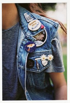 denim vest with cool buttons