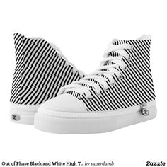 Out of Phase Black and White High Tops Printed Shoes you at www.zazzle.com/superdumb