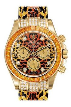 Rolex Daytona Leopard Dial and Strap Diamond and Sapphire Bezel Mens Watch 116598SE #Glimpse_by_TheFind