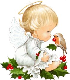 Christmas angel and robin bird Illustration by Ruth Morehead Christmas Clipart, Vintage Christmas Cards, Christmas Baby, Christmas Printables, Christmas Pictures, Christmas Angels, Christmas Crafts, Christmas Ornaments, Xmas