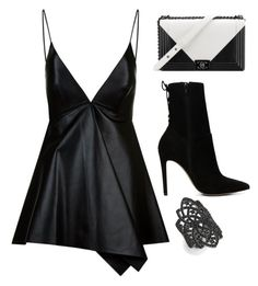 """Dark side"" by mariam-magana on Polyvore featuring moda, Valentino, Chanel, ALDO y Noir"