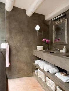 Inspiratie voor een betoncire, mortex of tadelakt badkamer.
