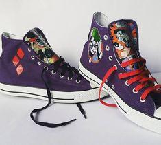 7b69d27640d273 Joker Harley Quinn Converse Sneakers Mad Love Special Batman Shoes