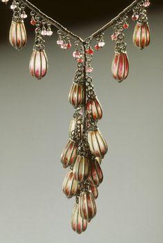"Tzu-Ju Chen: ""Scarlet Milonga"" - necklace 16"". Oxidized silver, garnets, rubies, pink tourmalines and ""plique-a jour"" enamel."