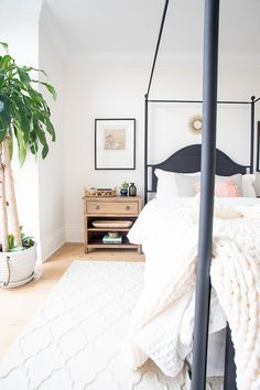 so obsessed with that plant! // White Dove Benjamin Moore Bedroom Wall paint color with natural Chunky Knit Throw and black canopy bed Beach Houses, Tiny Houses, Beautiful Bedrooms, Beautiful Homes, Bedroom Furniture Sets, Bedroom Decor, Bedroom Wall Paint Colors, Benjamin Moore Bedroom, Le Cloud