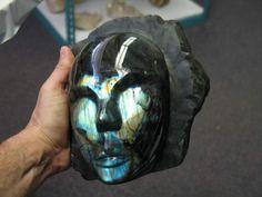 Mask carved of labradorite from Madagascar.