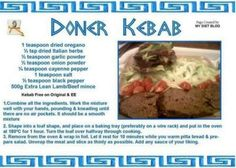 Slimming world kebab Slimming World Dinners, Slimming World Diet, Slimming World Recipes, Kebab Recipes, Lamb Recipes, Cooking Recipes, Slimming World Doner Kebab, Kebab Meat, How To Dry Oregano