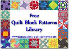 Free Quilt Block Patterns Library - a LOT of free patterns with varied sizes of each.