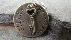 Brass Pet ID Tag with Key Charm Pet tag/tags Dog by themadstampers, $9.00