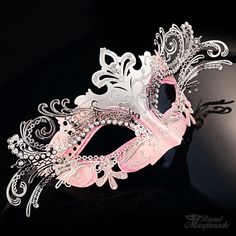 Silver Light Pink Princess - Silver Venetian Masquerade Ball Mask Collection - Filigree Metal with Diamonds Elegant Masquerade Mask, Masquerade Masks For Prom, Venetian Masquerade Masks, Masquerade Costumes, Mascarade Mask For Men, Carnival Masks, Carnival Costumes, Maskerade Outfit, Beautiful Mask