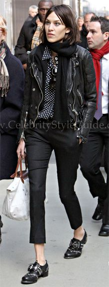 Alexa Chung Style and Fashion - Burberry Prorsum Quilted Leather Biker Jacket on Celebrity Style Guide