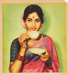 Tea in India - vintage poster Vintage India, Vintage Tea, Om Namah Shivaya, Jaisalmer, Udaipur, Chai, Ayurveda, History Of India, Indian Art History