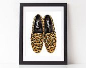 "YSL mocassini acquerello leopardato 8 x 10"", 11 x 14"""