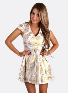 White and metallic gold contrast print skater dress,  Dress, white  gold  print  dress  skater, Chic