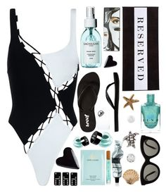 """""""See you at the beach"""" by sunnydays4everkh ❤ liked on Polyvore featuring Agent Provocateur, Reef, Chance, Jimmy Choo, Sachajuan, Accessorize, Chiara Ferragni, Estée Lauder, NYX and Victoria Beckham"""