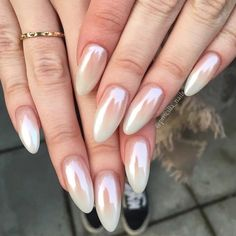 "6,573 Likes, 22 Comments - dailycharme (@daily_charme) on Instagram: ""Love these pure white chrome pink ombre nails by @priscilla_nails using our Magic White Chrome…"""