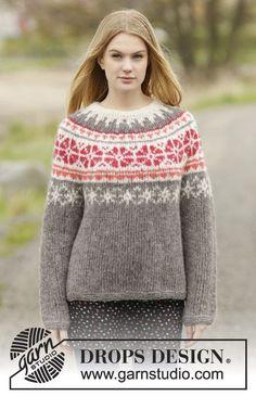 """DROPS bluse med rundt bærestykke og nordisk mønster, strikket ovenfra og ned i 2 tråde """"Brushed Alpaca Silk"""" eller 1 tråd """"Melody"""". Str S - XXXL"""