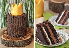 A recipe for making a Where the Wild Things Are Birthday Cake that looks like a tree stump, topped with a gold fondant crown!