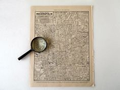 Vintage 1940 Indianapolis Indiana City Map by RecycledWares, $8.00