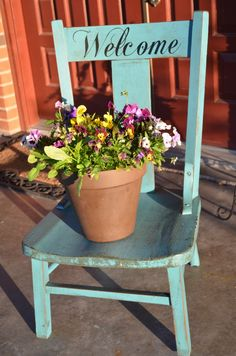 DIY Chair UpCycle- Super cute for the garden or front porch.