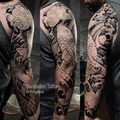 30 years of experience in Japanese Tattoo style of tattooing all over the world ッNOW based in NYCッ Koi Tattoo Sleeve, Black Sleeve Tattoo, Watercolor Tattoo Sleeve, Best Sleeve Tattoos, Body Art Tattoos, Japanese Tattoo Koi, Japanese Tattoo Designs, Japanese Sleeve Tattoos, Japanese Koi
