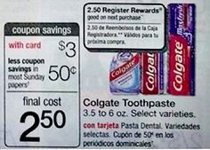 Woo Hoo! We have a nice little Money Maker on Colgate next week at Walgreens. Select varieties of Colgate Toothpaste will be on sale for $3, and you'll get back a $2.50 Register Reward when you buy one. Plus, we have a Colgate Coupon we can use, to make this a nice 50¢ Money Maker! Be sure to pri…