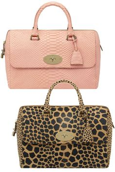 Mulberry Del Rey in Mini Maxi Giraffe Haircalf in Natural and in Silky Snake Print in Nude  #porteropintowin