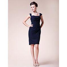 Sheath/Column Plus Sizes / Petite Mother of the Bride Dress - Dark Navy Knee-length Sleeveless Chiffon – USD $ 89.99