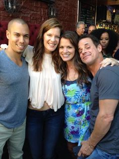 Bryton James, Michelle Stafford, Melissa Claire Egan, and Christian LeBlanc at Michelle's goodbye party June 2013
