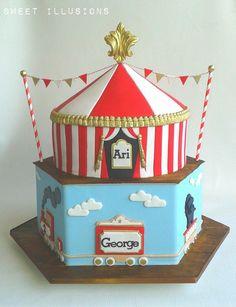 2 tier Chocolate and vanilla mud cake sibling birthday cake. & Circus Tent Cake http://www.cakescrazy.co.uk/details/circus-cake ...