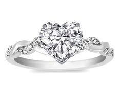 Heart Shape Diamond Petite twisted pave band Engagement Ring  - ES873HSWG