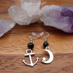 Ships In The Night. Silver Moon and Anchor Earrings with Black Onyx Beads on Etsy, $6.78 CAD
