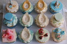 Vintage Alice In Wonderland Baby Shower Cupcakes.    Monogram letters are the first name initials of the customer's family.