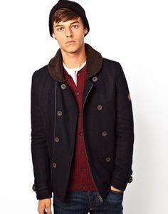 Bellfield - Blue Wool Coat with Borg Collar Asos Men, Blue Wool, Wool Coat, Fashion Online, Cool Style, Trousers, Breast, Menswear, Men's Coats