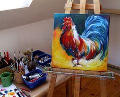 obraz olejny, akrylowy, technika mieszana, ręcznie malowany - Diana Art - Izabela Diana Januszewska. Tematyka - kogut, ptactwo domowe, ptactwo wiejskie, tematyka