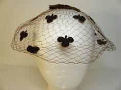 Vintage Fascinator w/Velvet Clovers & Bow
