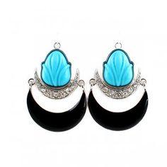 Vintage Jewelry Hot Selling Silver Color Alloy Black Enamel Blue Rhinestone Dangle Earring for Women